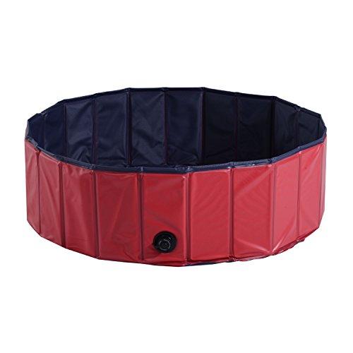 PawHut Hundepool Planschbecken Schwimmbecken Schwimmbad Hundebad, PVC+Holz, Blau/Rot, Φ100x30cm (Rot+Dunkelblau)