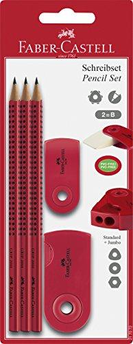 Faber-Castell 217072, Bleistiftset Sleeve 2001, mit 3 Bleistifte, 1 Radierer, 1 Spitzer Farbe: Rot