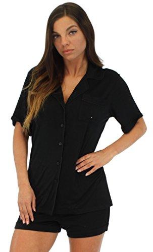 Pajama Heaven Ensemble femme haut à manches courtes boutonné et short Solide Noir