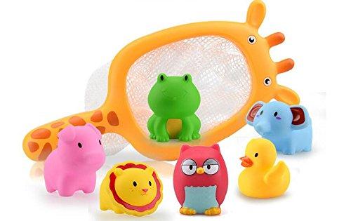 YOIL Set von 6 Stück Kinder Cartoon Niedlichen Tier Badewanne Bad Bad Squirt Spielzeug Wasser Spielen Spielzeug mit Net Angeln