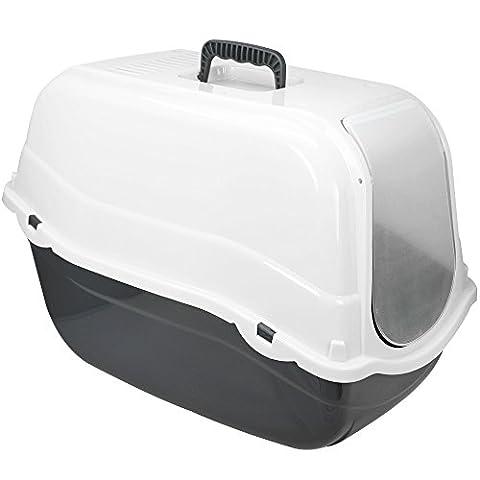 COM-FOUR® XXL Katzentoilette mit Bodenwanne und Abdeckung in weiß, Katzenklo mit Schwingklappe und Luftfilter, 57 x 39 x 40,5 cm (01 Stück - weiß)