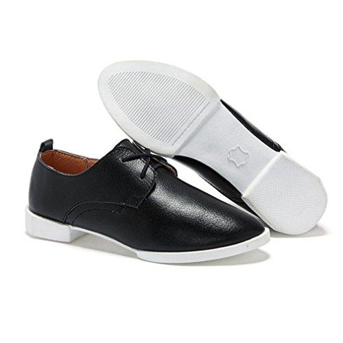 Damen Schnürhalbschuhe Spitz Zehen Flache Britische Stil Freizeitschuhe Anti-Rutsche Leichtgewicht Modische Schuhe Schwarz