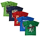 #10: Elk Boy's Kids Round Neck Printed Half Sleeve Cotton Tshirt 5 Combo Pack