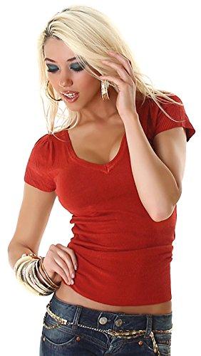 Damen Kurzarm Feinstrick-Pullover mit V-Neck - Camel - Size 36-38 - taillierter Schnitt -