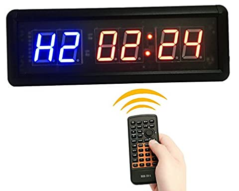 GANXIN 1.5'' High 6 Digits LED Countdown /up Clock for Interval Timers, 12/24-Hour Real Time Clock, Stopwatch by Remote Control, Blue & Red Color