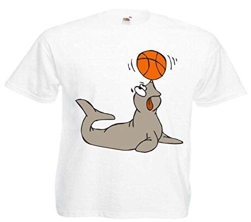 Motiv Fun T-Shirt Seehund das mit dem Ball(Kugel) spielt Cartoon Spass Kult Motiv Nr. 12427 Weiß