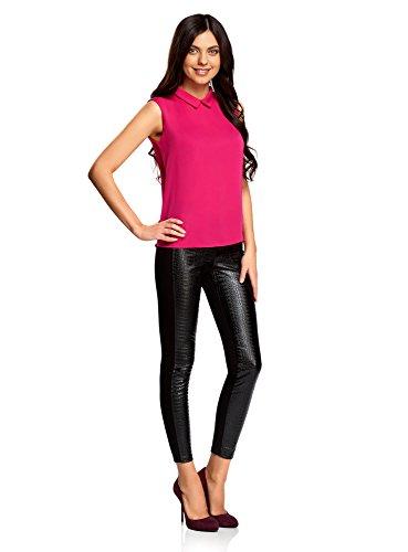 oodji Ultra Damen Ärmellose Bluse Basic mit Kragen Rosa (4700N)