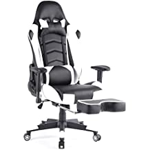 Top Gamer Ergonomische Fußstütze Computer Gaming Hohe Rückenlehne Drehstuhl Büro Stuhl mit Anpassung Kopfstütze und Lendenwirbelstütze Racing Stuhl weiß