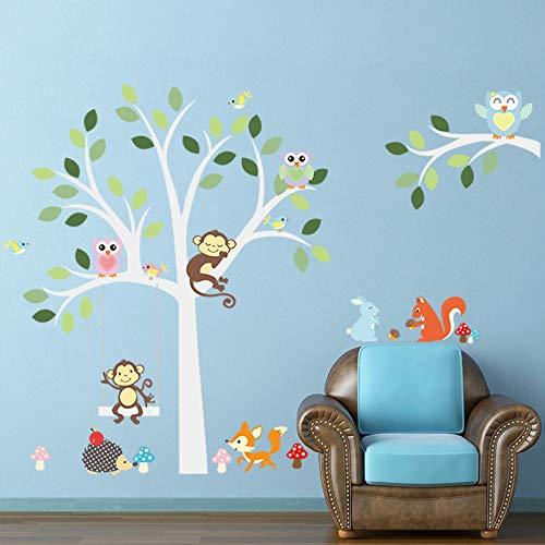 dschungel gym Eulen Monkey Animal On White Baum Wandaufkleber für Kinder Kinderzimmer Dschungel wilde Wandtattoo Aufkleber Kinderzimmer Dekor