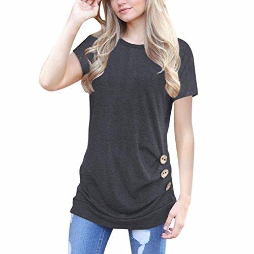 OVERDOSE Damen Kurzarm Lose Knopfleiste Bluse Einfarbig Rundhals Tunika T-Shirt Sommer Oberteil Tops(A-Dark Gray,M)