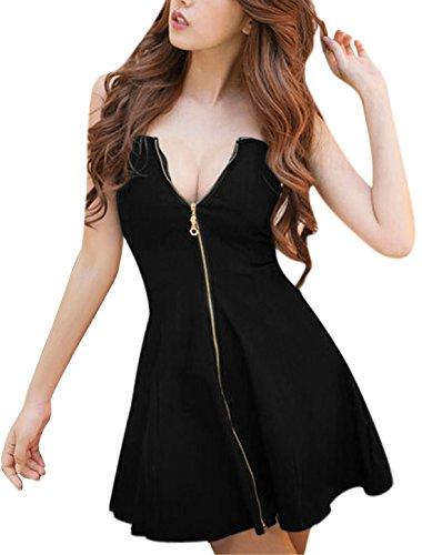 Allegra K Damen Sweetheart Elastische Halsausschnitt Vorne Reißverschluss Mini Kleider Dress