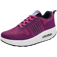 Zapatillas Deportivas con Cordones de Malla para Mujer al Aire Libre Zapatos de Fondo Suave y Transpirable Zapatillas