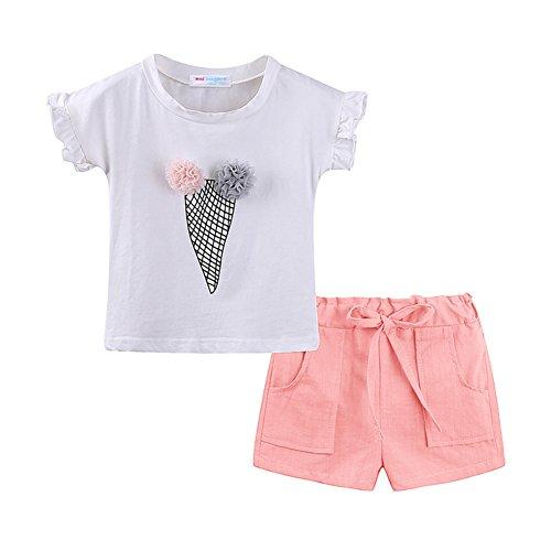 LittleSpring Mädchen Kleidung Set T-Shirt+Shorts mit Eis-Motiv Sommer 2-7 Jahre Rosa Gr.130 (Eis Kinder T-shirt)