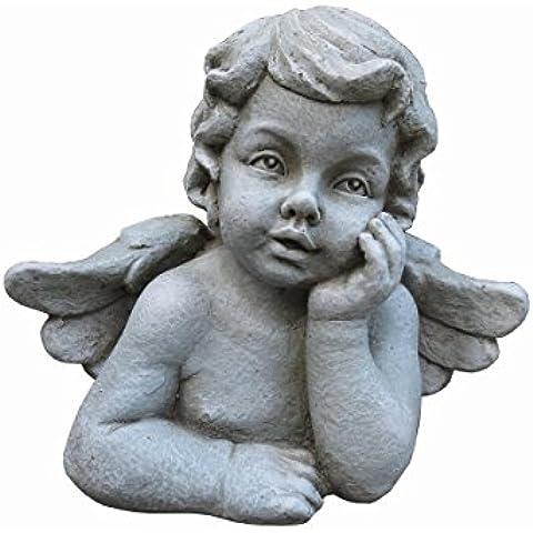 derrys sma2366Cherubino in Thought–Statuetta da giardino in resina naturale