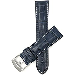 28mm bracelet de montre pour hommes en cuir véritable,bleu, avec couture blanche, fini lustré, motif alligator, aussi disponible en noir, blanc, marron et brun-roux