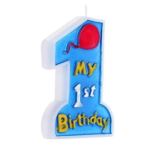 soxid (TM) Anself Velas decorativas de Cera My 1st gâteau d'anniversaire Bougie Premier Anniversaire Fêtes pour enfants Decor Décoration d'alimentation