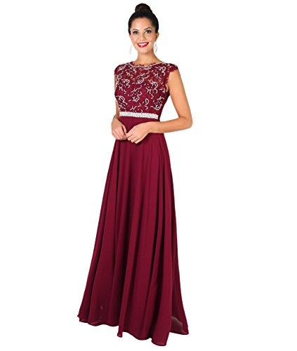 Einzelne Designer Kostüm Damen (4647-WIN-18: Spitze und Perlen Chiffon Ballkleid (Weinrot,)