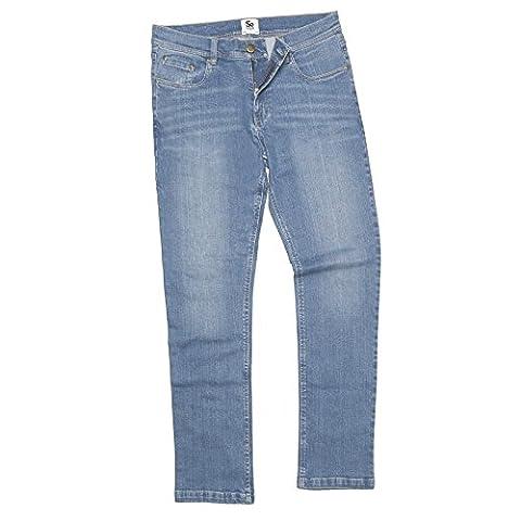 AWDis Women's Lara Skinny Fit Jeans Mid Rise 5 Pocket Styling Light Blasting and Whiskering YKK Zip Fly Fastening (8L, Light Blue