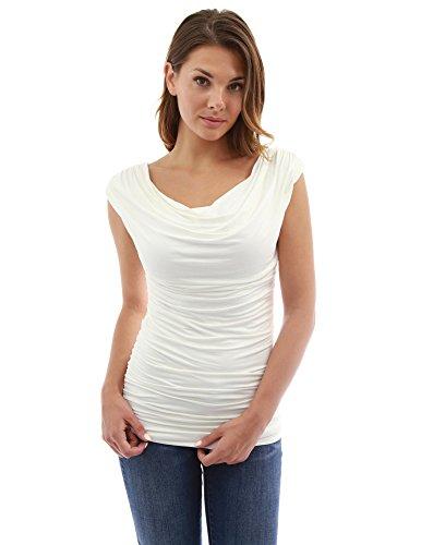 PattyBoutik Damen Geraffte ärmellose Bluse mit Wasserfallausschnitt (Elfenbein S 36/38)
