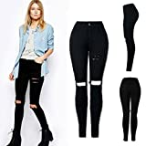 Familizo Mode Féminine Skinny Slim Denim Pantalon Crayon, Pantalon en Denim Troué (X-Large, Noir)