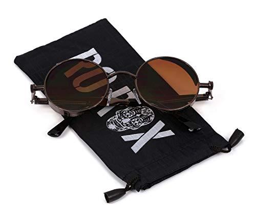 Ro Rox Damen Herren Steampunk Retro Runde Sonnenbrille - Braun - Braun