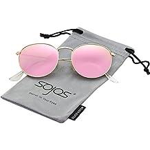 SOJOS Redondo Clásico Espejo Lentes Brillo UV Portección Polarizado unisex Gafas de Sol SJ1014