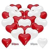 iZoeL 100Stk Herz Luftballons für Hochzeit Herzluftballons Ø 30cm Ballons Herz für Hochzeit Geburtstag Heiratsantrag Jahrestag Valentinstag Brautdusche Baby-Dusche 50 rote & 50 weiße