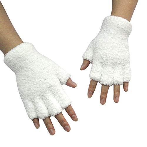 TEBAISE Unisex Damen Handschuhe Mitten Fingerlose Fleece-Halbfinger Fuzzy Adult Warm Winter Fingerhandschuhe Skihandschuhe Warm Schnee Handschuhe Damen (Kälte Halloween Kostüme Für Kinder)