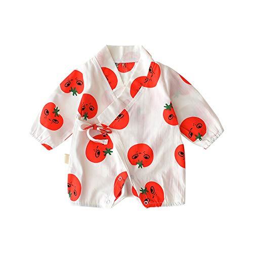 (Nicetruc Baby Langarm Japanisch Kimono Spielanzug-Overall mit Tomate Printed Baumwollbeiläufiges Bodysuit Outfit Mit Kappe für Baby Kleinkinder 80cm Weiß)