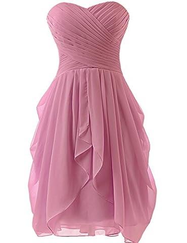 HUINI Strapless Brautjungfer Kleider kurz Chiffon Abendkleid mit Falte besetzt Ballkleid Baby Pink Size 40