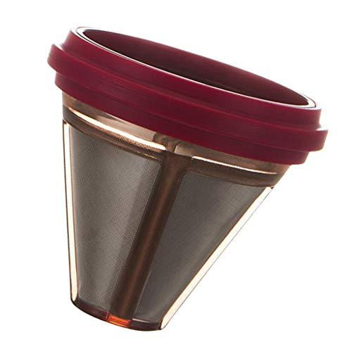 Fenteer Wiederverwendbar Edelstahl Filter Manuelle Kaffeefilter - rot