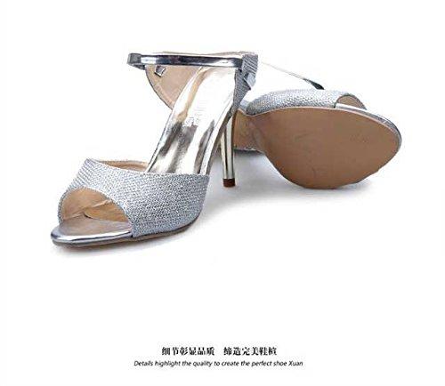 Gaorui Sommer sexy Sandaletten Damen Schuhe HIGH HEELS glänzend Party Schuhe Sandalen Silber Silber