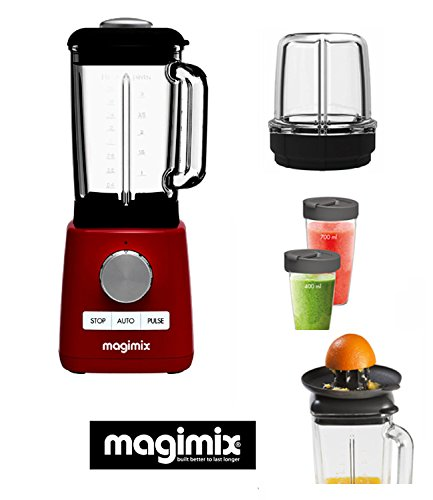 Magimix Power Batidora -Blender rojo new 1300-22000 rpm + 3 ACCESORIOS OPCIONALES : : mini vaso, esprimidor...