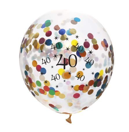TONVER 40 Jahre Hochzeit Ballons 10 Stück / 30 cm Latex Konfetti Ballon Party Dekoration Zubehör für Rubin Hochzeit Geburtstag Jahrestag, Latex, Colorful Confetti Balloons, 30 cm