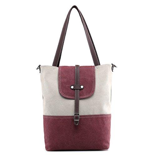 Tela Tote Tempo Libero Shopper Moda Signore Tracolla Messenger In Brossura Handbags PurpleCoffee