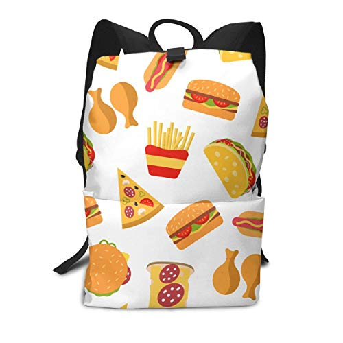 Homebe French Fried Hamburger Pizza Food Themed Picture Printed Patterned School Travel Hiking Small Gym Teen Little Girls Youth Boy Women Men Kids Backpack Mini Book Back Bag Bookbag