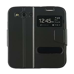 N04- Schwarz Flip Cover mit Sichtfernster für Samsung Galaxy S3 i9300 i9305 Schutzhülle Hülle Schale Handytasche Etui Case