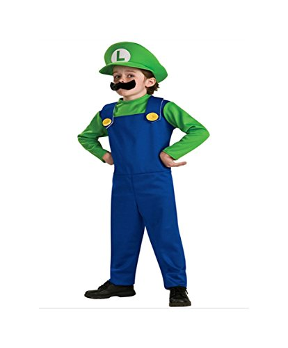 DS (GR. 98 - 122) KOSTÜM HELLOWEEN FASCHING *MARIO LUIGI - GRÜN BLAU - GR. 116* -3 TEILE- OVERALL BART MÜTZE (Für Baby Mario-kostüm)