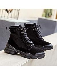 5e545ffa26edc Shukun Stivaletti Martin Boots Stivali da Donna High Tube Autunno e Inverno  Flat Matte High per