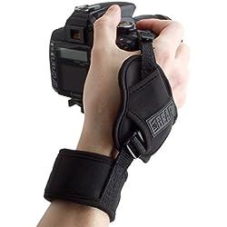 USA Gear Dragonne Grip Sangle Poignet Rapide Appareils Photo Numériques Réflex et Bridge - Bracelet en Néoprène Ajustable - Compatible avec Nikon, Canon, Pentax, Panasonic Lumix Et Plus - Noir