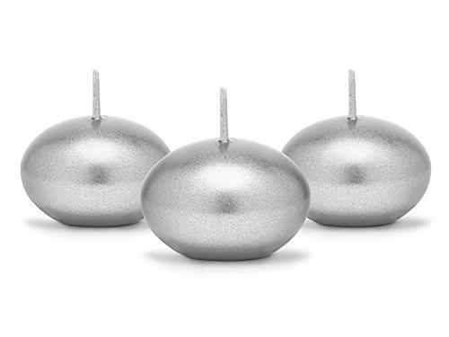 SiDeSo® 5 Stück Schwimmkerzen 40mm viele Farben (silber metallik)