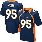NFL Denver Broncos NO.95 Wolfe Rugby Maillot Football américain Supporters Manches Courtes T-Shirts pour Match Training Respirant Sportswear,Bleu,XXXL
