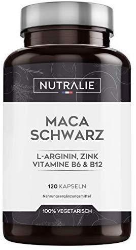 Maca Schwarz aus Peru entspricht 24.000 mg für jede Dosis von 1200 mg, mit L-Arginin, Zink und den Vitaminen B6 & B12 | 120 Pflanzliche Kapseln mit hochkonzentriertem Maca-Extrakt 20:1 | Nutralie