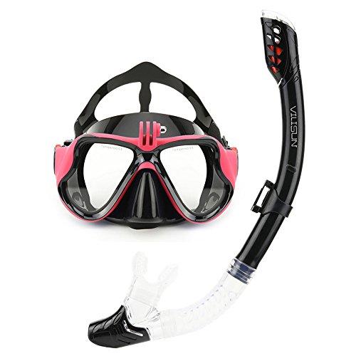 VILISUN Taucherbrille mit Schnorchel Anti-Leck Anti-Fog Schnorchelset Tauchset aus Gehärtetem Glas, ideal für Tauchen, Schnorcheln und Schwimmen, Rosa Set (Erwachsene)