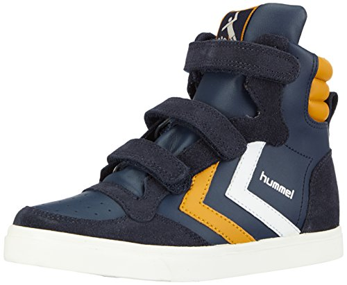 hummel STADIL LEATHER Unisex-Kinder Hohe Sneakers Blau (Dress Blue / Sunflower 8580)