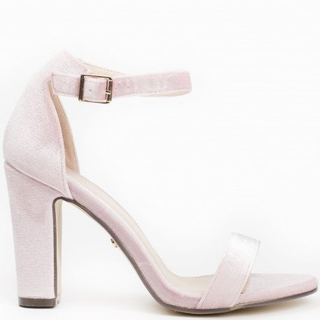 Ideal Shoes - Sandales à talon carré effet velours Henola Rose