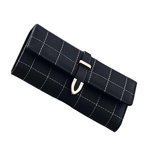 Western-wallet Schwarze (GoGou Damen Elegant String Lange Geldbörse Plaid Leder Clutch Trifold Wallet Multi Card Case (Black))
