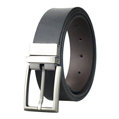 Cinturón de vestir de piel reversible para hombre, con hebilla giratoria, de 3,3 cm de ancho Negro matte black 38/40W x 43L