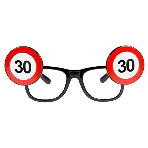 Folat 24930 30. Geburtstag Spaß-Brille Verkehrsschild, Mehrfarbig