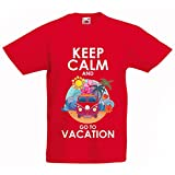 N4442K La Camiseta de los niños Keep Calm and Go to Vacation (9-11 Years Rojo
